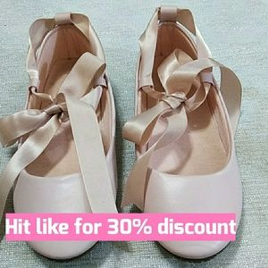 Pink ballet flats little girls with ties